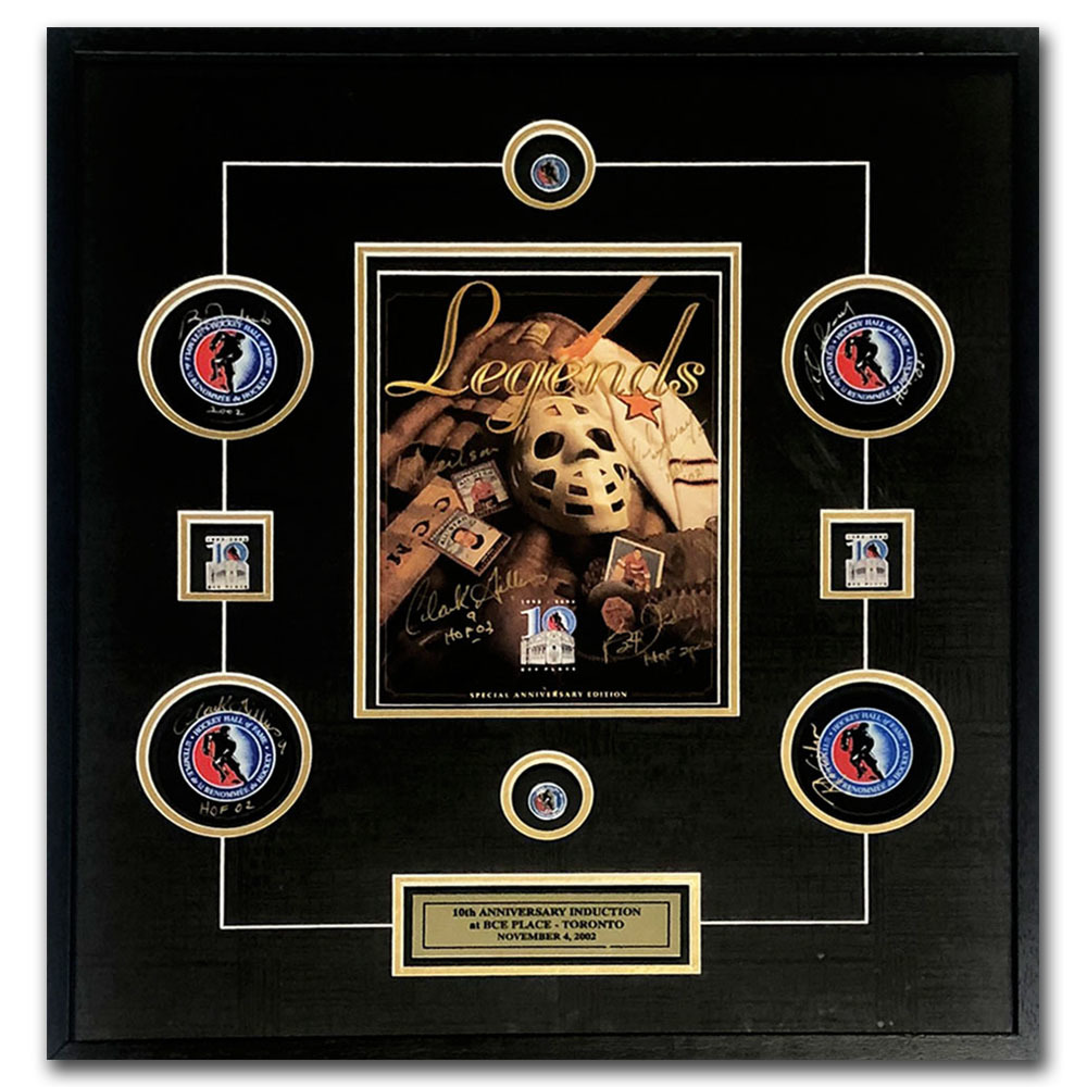 2002 Hockey Hall of Fame Inductees Autographed Puck & Program Framed Display - Federko, Langway, Gillies & Neilson