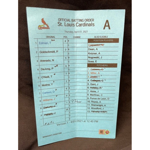Photo of 2021 Opening Day -- Game-Used -- Official Batting Order Card -- St. Louis Cardinals -- Cardinals vs. Reds on 4/1/21 -- $5 Shipping