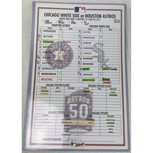 Photo of 2015 Game-Used Line Up Card - Dallas Keuchel vs Jose Quintana