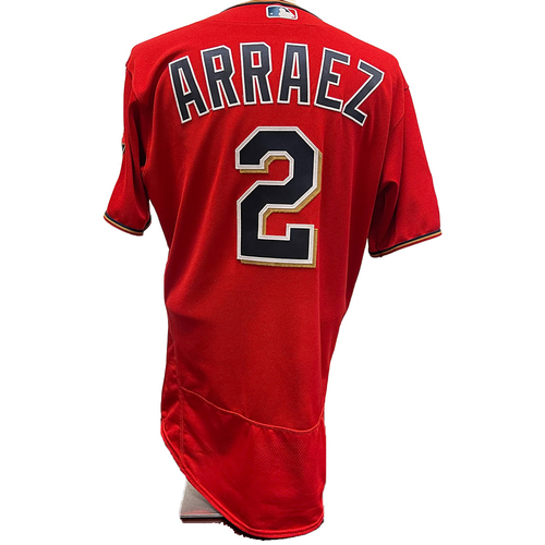 Photo of Minnesota Twins: 2021 Game-used Home Red - Luis Arraez worn on 4/10/2021 vs SEA going 0-4 and 7/11/2021 vs DET going 1-5 with 1 run scored.