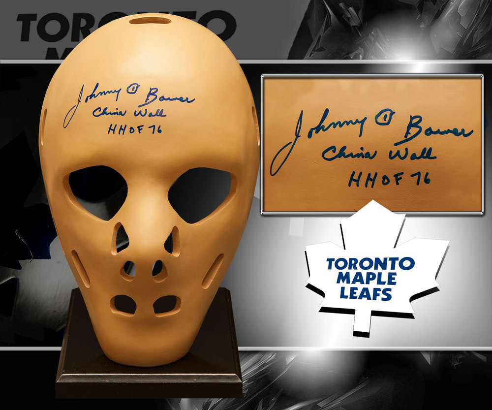 Johnny Bower Toronto Maple Leafs HOF China Wall Autographed Full Size Replica Mask