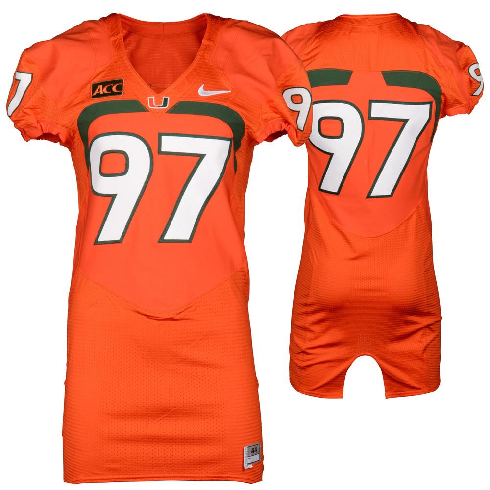 Miami Hurricanes Game-Used 2007 - 2013 Nike Orange Football Jersey #97