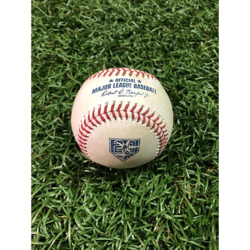 Photo of 20th Anniversary Player Collected Baseball: Khris Davis Home Run off Jaime Schultz - September 14, 2018 v OAK