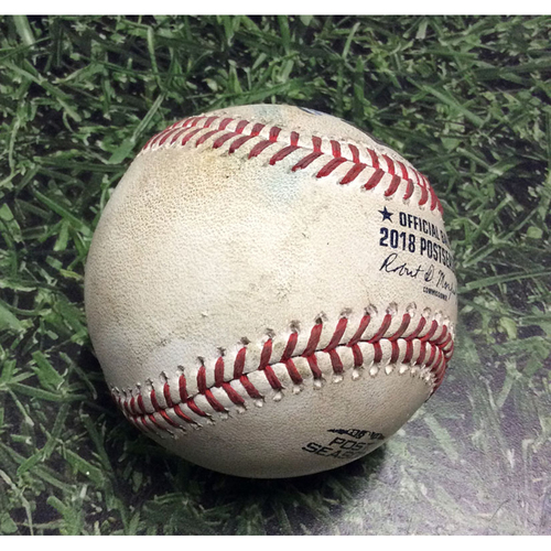 Photo of Game-Used Baseball NLCS Game 1 LAD@MIL 10/12/18 - Corey Knebel - Yasmani Grandal: Strikeout