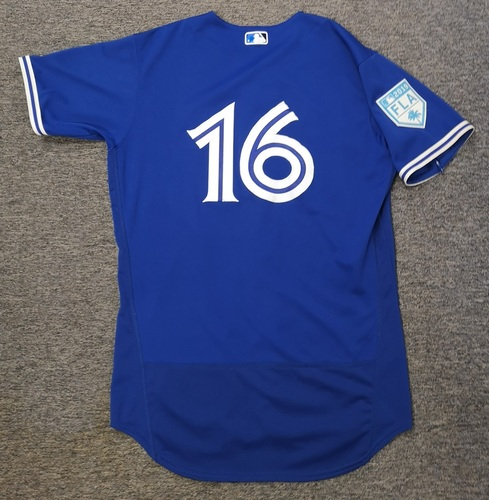 Photo of Authenticated Game Used 2019 Spring Training Jersey - #16 Freddy Galvis (Mar 25: 1-for-1 with 1 RBI and 1 Walk). Size 44