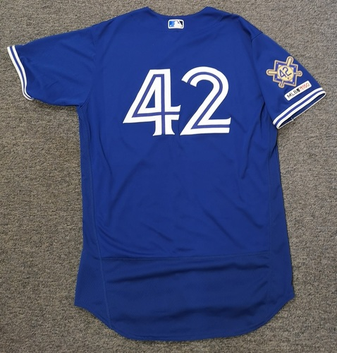 Photo of Charity Auction - Authenticated Game Used #42 Jersey - Luke Maile (April 15, 19: 0-for-4). Size 46