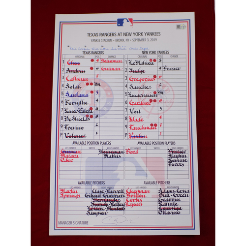 Photo of Game-Used Lineup Card - 9/3/19 @ NYY