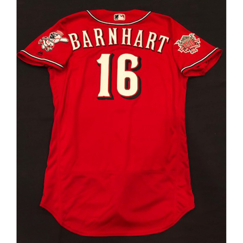"Photo of Tucker Barnhart -- Game-Used ""Los Rojos"" Jersey (Pinch Hitter) -- D-backs vs. Reds on 9/6/19 -- Jersey Size 44"