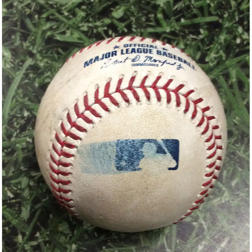 Photo of Game-Used Baseball MIA@MIL 06/04/19 - Pablo Lopez - Travis Shaw: Single