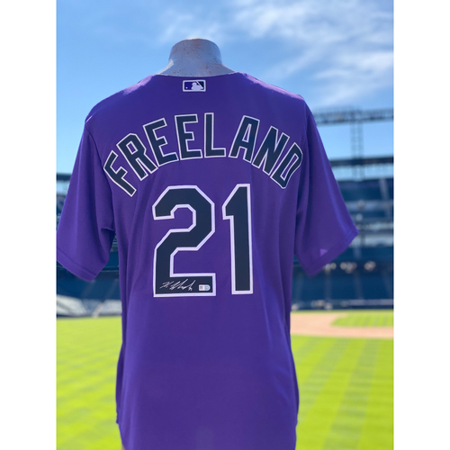 Photo of Colorado Rockies Autographed Purple Jersey: Kyle Freeland - Choose your Size!