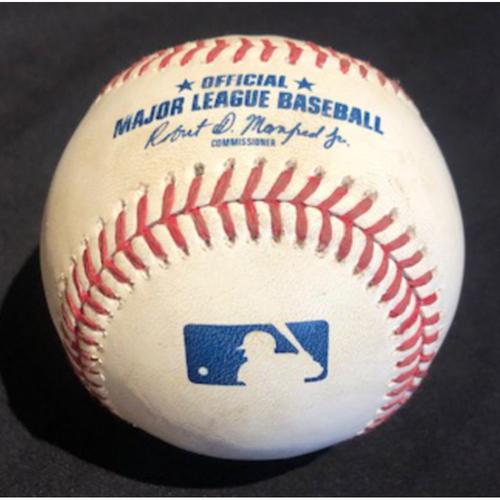 Shogo Akiyama -- NL Gold Glove Candidate -- Game-Used Baseball -- Kuhl to Akiyama (Foul) -- Details in Description