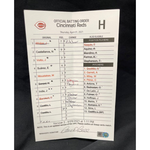 Photo of 2021 Opening Day -- Game-Used -- Official Batting Order Card -- Cincinnati Reds -- Cardinals vs. Reds on 4/1/21 -- $5 Shipping