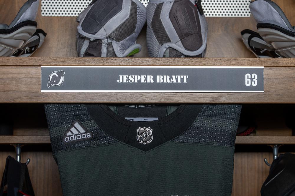 Jesper Bratt Autographed 2020-21 Military Themed Locker Room Nameplate - New Jersey Devils