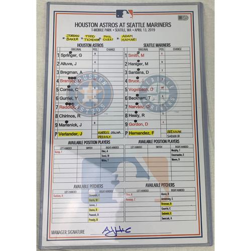 Photo of 2019 Game-Used Line-Up Card - Justin Verlander vs Felix Hernandez