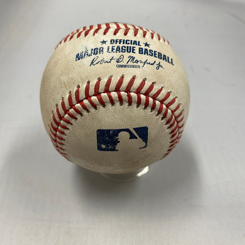 Photo of 2021 Game Used Baseball used on 9/19 vs. ATL - Top 2nd - Eddie Rosario Hits a Double to RF - Eddie Rosario Hits for the Cycle on 9/19