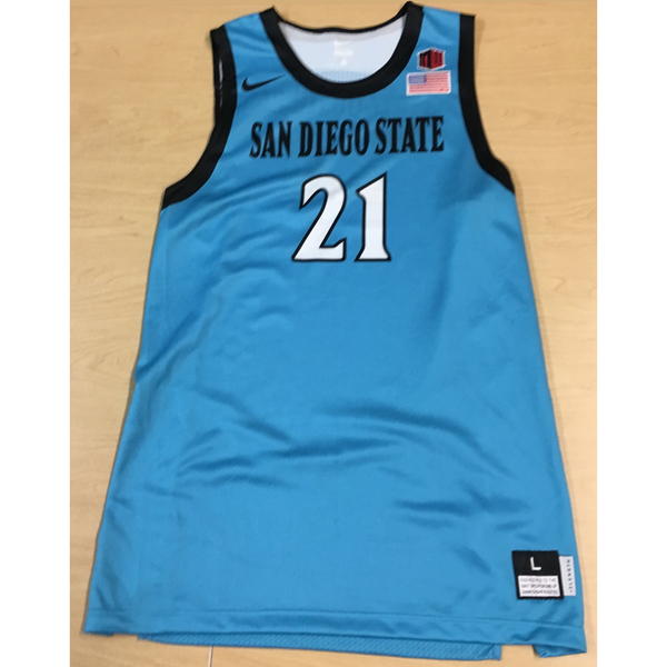 Photo of Game-Worn SDSU Nike N7 Native Night Basketball Jersey: Turquoise #21