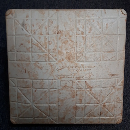 Photo of Authenticated Game Used Base - 1st Base for Innings 4 to 6 (September 22 and 23. 2017). 1st Base for Innings 4, 7-9 on September 24, 2017 (Last Home Game of 2017)