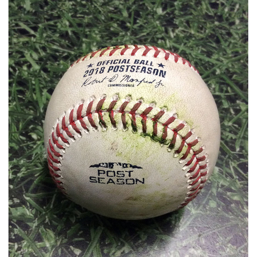 Photo of Game-Used Baseball NLCS Game 1 LAD@MIL 10/12/18 - Corey Knebel - Chris Taylor: RBI Triple