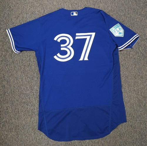 Photo of Authenticated Game Used Spring Training 2019 Jersey - #37 Teoscar Hernandez (Mar 18, 19: 2-for-4 with 1 HR and 1 Run. Mar 26, 19: 0-for-2). Size 46
