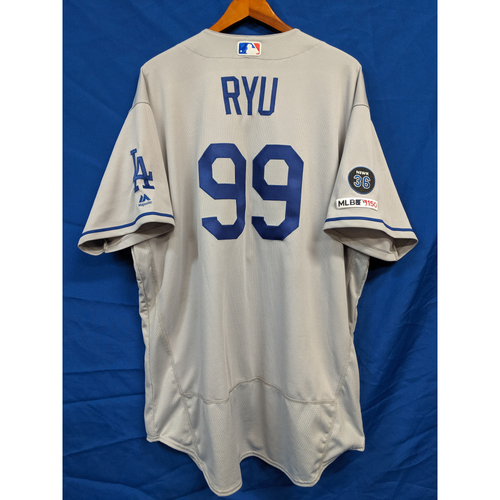 28e28647 Photo of Hyun-Jin Ryu 9th Win of 2019 Game-Used Jersey