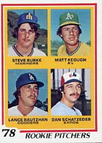 Photo of 1978 Topps #709 Rookie Pitchers/Steve Burke RC/Matt Keough RC/Lance Rautzhan RC/Dan Schatzeder RC