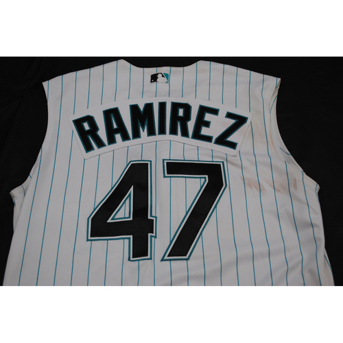 Photo of Game-Used 2019 Throwback Florida Marlins Jersey: Harold Ramirez - Size: 46 (Used July 26-28, 2019)