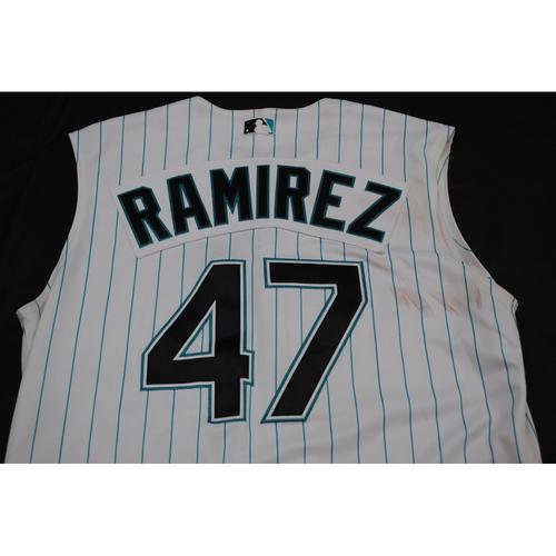 Photo of Game-Used 2019 Throwback Florida Marlins Jersey: Harold Ramirez - Size: 46 (Used July 26-28, 2019)