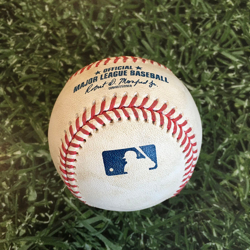 Photo of Game-Used Baseball PHI@MIL 05/24/19 - Chase Anderson - Rhys Hoskins: Single