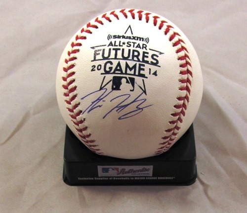 Photo of Hunter Harvey Autographed 2014 Futures Game Logo Baseball