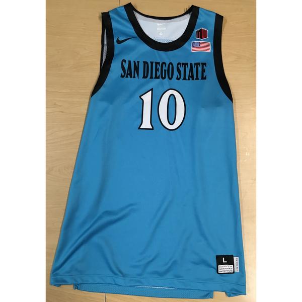 Photo of Game-Worn SDSU Nike N7 Native Night Basketball Jersey: Turquoise #10
