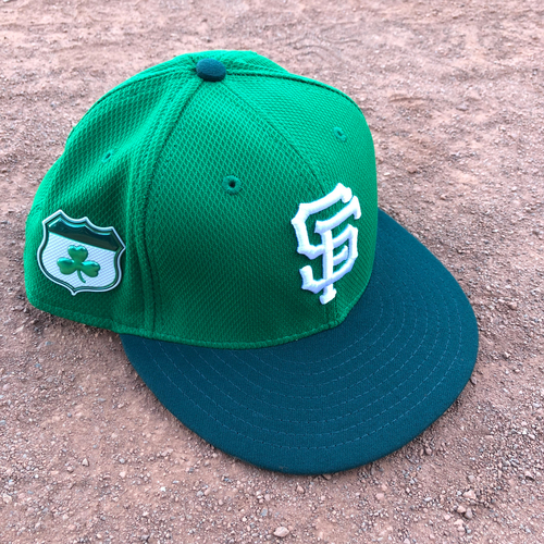 Photo of San Francisco Giants - 2017 Game-Used St. Patrick's Day Cap Worn by #37 Kelby Tomlinson - Size 7 1/4