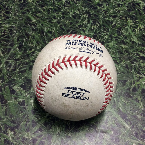 Photo of Game-Used Baseball NLCS Game 2 LAD@MIL 10/13/18 - Wade Miley - Chris Taylor: Strikeout