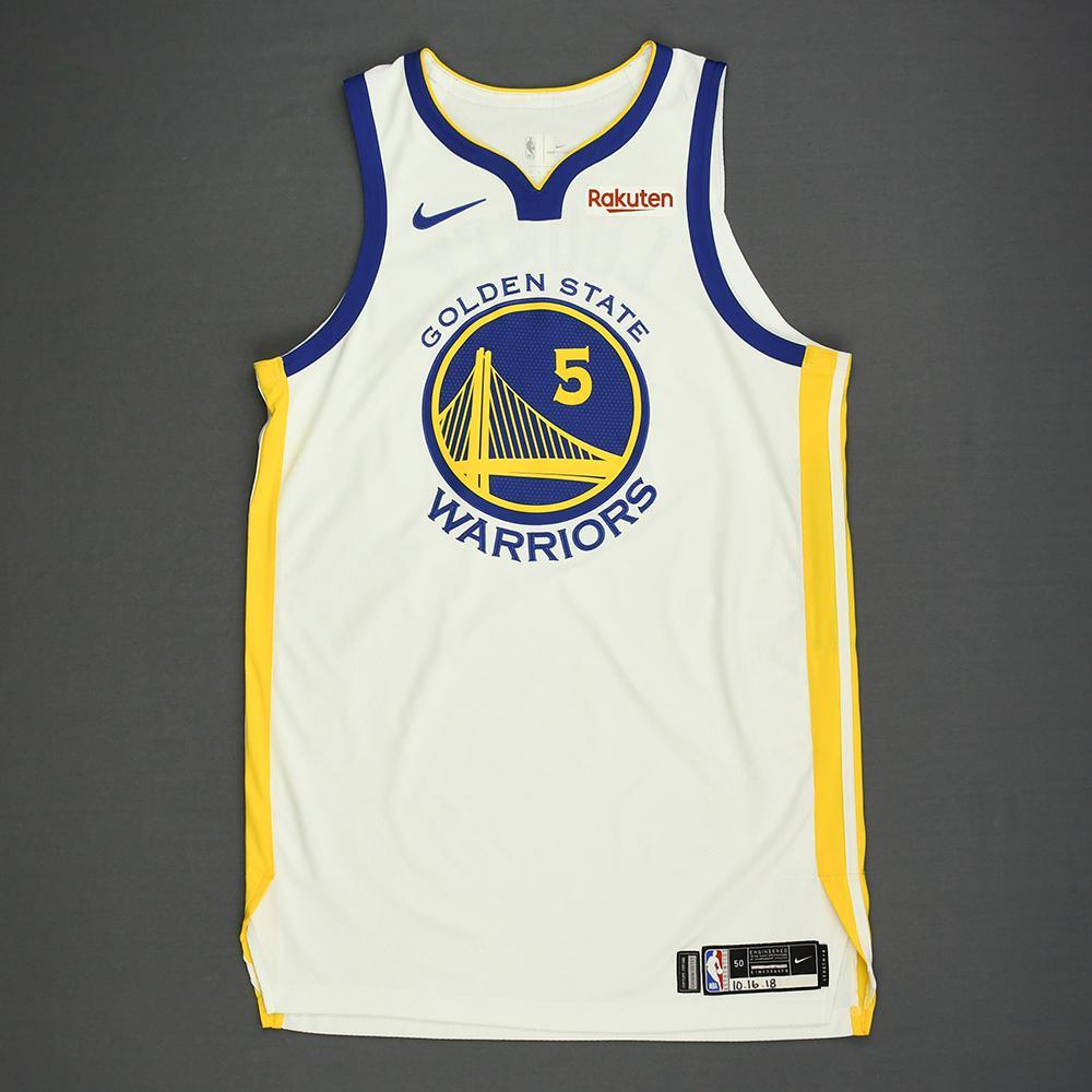 Kevon Looney - Golden State Warriors - Kia NBA Tip-Off 2018 - Game-Worn Association Edition Jersey - Double-Double