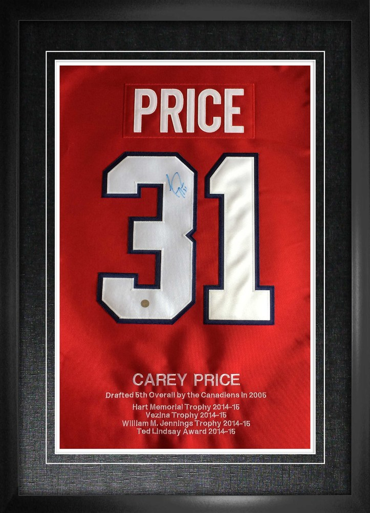Carey Price Signed Numbers Framed with Embroidery Canadiens Career