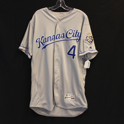 Photo of Game-Used Jersey: Alex Gordon 1441st Career Hit and 648th Career RBI (Size 46 - 9/8/18 - KC @ MIN)