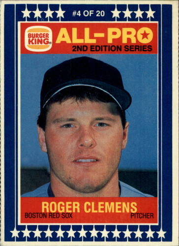 Photo of 1987 Burger King All-Pro #4 Roger Clemens