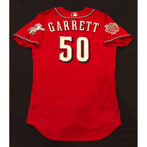 "Photo of Amir Garrett -- Game-Used ""Los Rojos"" Jersey (Relief Pitcher: 1.0 IP, 0 R, 1 K) -- D-backs vs. Reds on 9/6/19 -- Jersey Size 46"