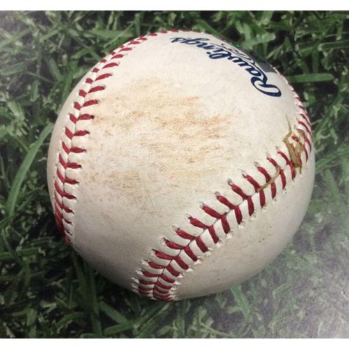 Photo of Game-Used Baseball MIA@MIL 06/05/19 - Sandy Alcantara - Mike Moustakas: Single