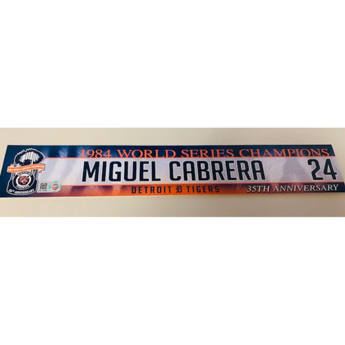 Photo of Game-Used Locker Name Plate: Miguel Cabrera