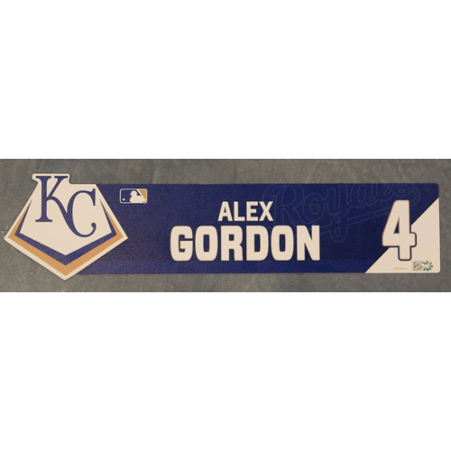 Photo of Game-Used Locker Nameplate: Alex Gordon (CWS @ KC - 7/16/19)
