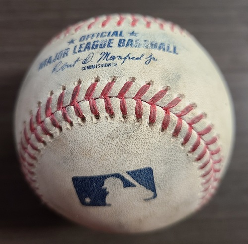 Photo of Authenticated Game Used Baseball: Foul by Joe Panik against John Means (Sep 26, 2020 vs BAL). Bottom 3. Game played in Buffalo.