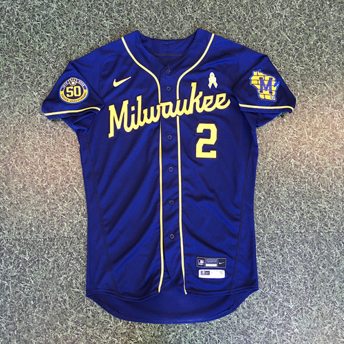 Photo of Luis Urias 2020 Game-Used Road Navy Jersey
