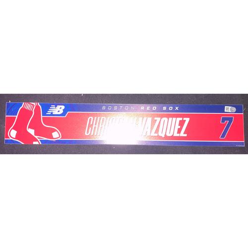 Photo of Christian Vazquez September 5, 2021 Game Used Locker Tag