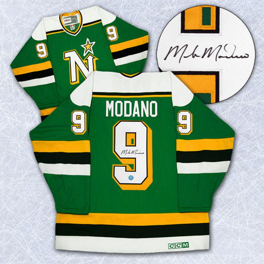 Mike Modano Minnesota North Stars Autographed Rookie Retro CCM Hockey Jersey