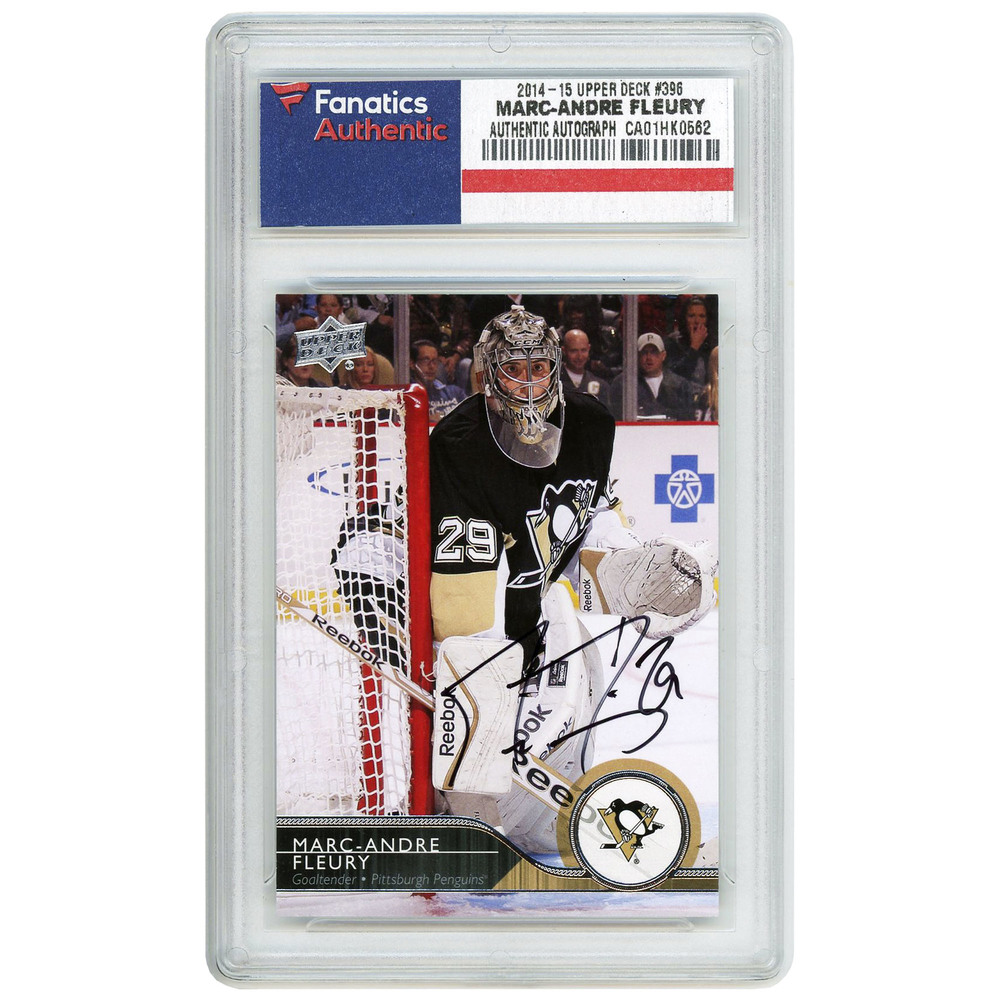 Marc-Andre Fleury Pittsburgh Penguins Autographed 2014-15 Upper Deck #396 Card