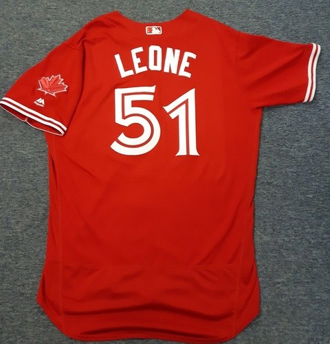 Authenticated Game Used Jersey - #51 Dominic Leone (July 1, 2017). Size 48.