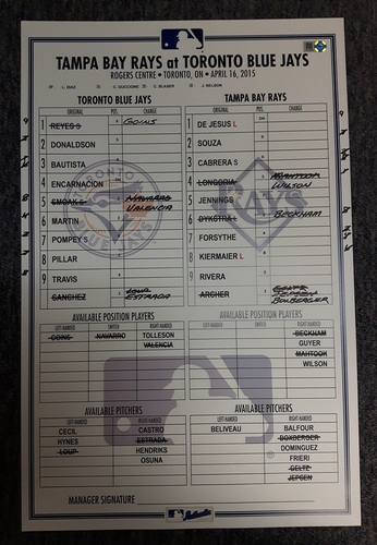 Photo of Authenticated Game Used Line-Up Card - April 16, 2015 vs Tampa Bay Rays. Evan Longoria moved to 1st All-Time in Rays History for Doubles