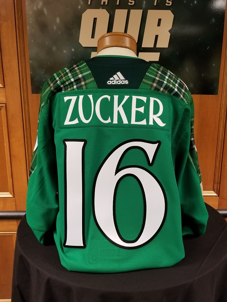 quality design 1b634 aabf6 Jason Zucker Minnesota Wild 2018 St. Patty's Day Warm-Up ...
