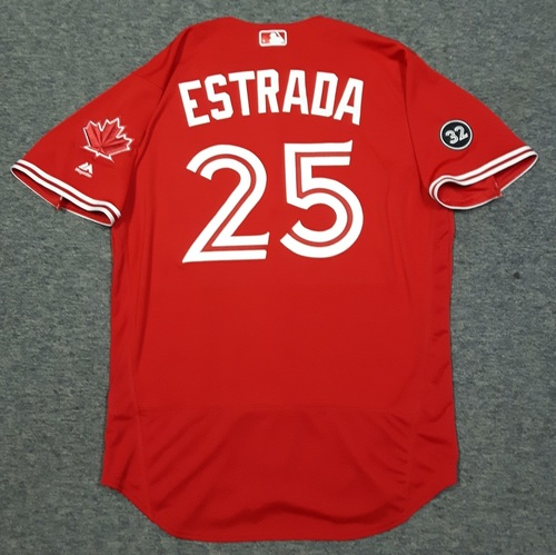 Photo of Authenticated Game Used 2018 Canada Day Jersey - #25 Marco Estrada (July 1, 2018). Size 46.