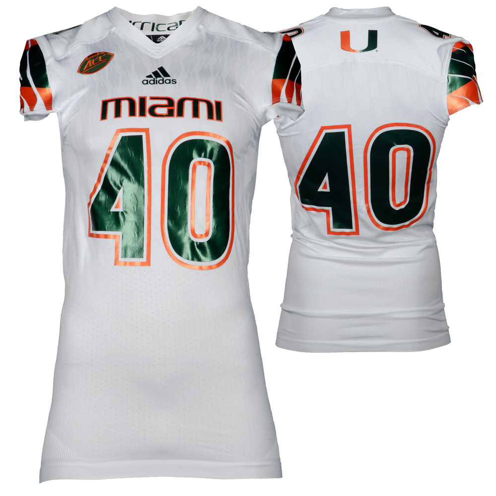 Miami Hurricanes Game-Used White #40 Adidas Football Jersey Used Between the 2015 and 2016 Seasons - Size XL